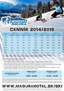 Cenník 2014/2015 (pdf)