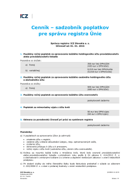 Cenník – sadzobník poplatkov pre správu registra Únie
