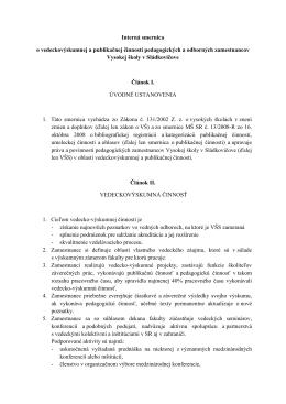 Interná smernica o vedeckovýskumnej a publikačnej činnosti
