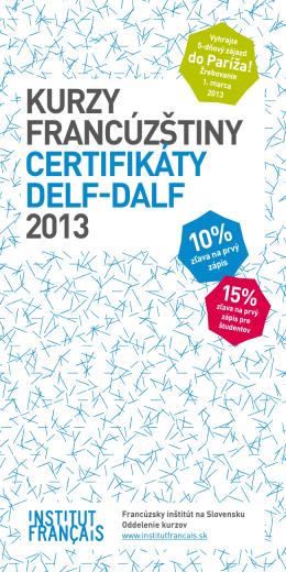 Kurzy Francúzštiny certiFiKáty DeLF
