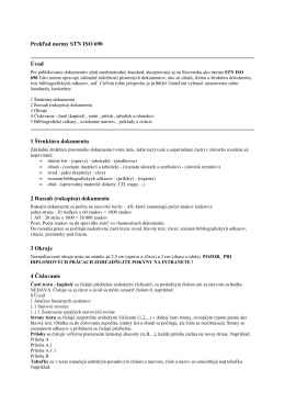 Prehľad normy STN ISO 690 vod 1 Łtruktúra dokumentu 2 Rozsah
