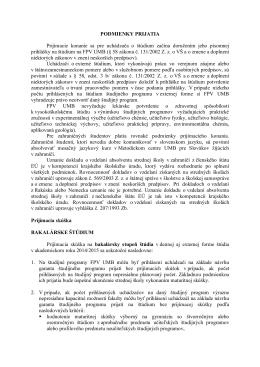 Podmienky prijatia na ak. rok 2014/15