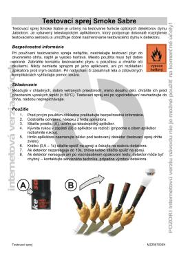 Testovací sprej Smoke Sabre - Návod na použitie