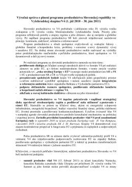 Výročná správa o plnení programu predsedníctva Slovenskej