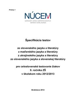 Špecifikácia testov z vyučovacích jazykov T9-2013