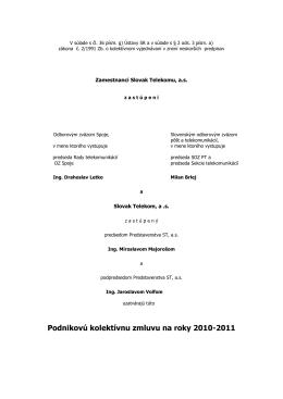 Podniková kolektívna zmluva ST, a.s. 2010-2011