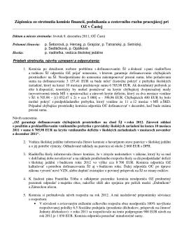 Zápisnica zo stretnutia komisie finančnej pracujúcej pri