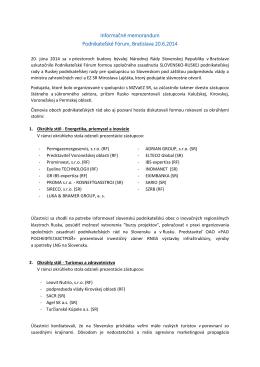 Informačné memorandum Podnikateľské Fórum, Bratislava