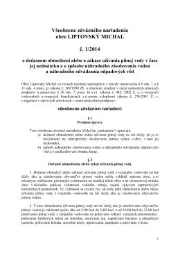 VZN o dočasnom obmedzení alebo o zákaze