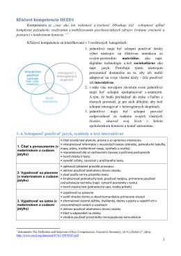 Kľúčové kompetencie ISCED1 1-A Schopnosť používať jazyk
