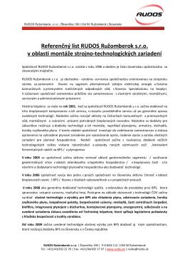 Referenčný list RUDOS Ružomberok s