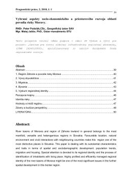 Vybrané aspekty socio-ekonomického a priestorového rozvoja