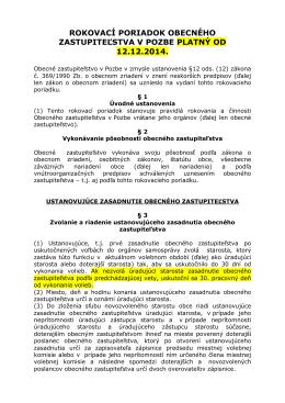 Rokovací poriadok Obecného zastupiteľstva v Pozbe platný od