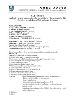 zápisnica z ustanovujúceho zasadnutia oz-2014