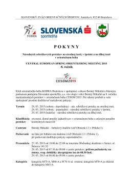 P O K Y N Y - Slovenský zväz orientačných športov