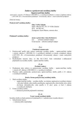 Zmluva o poskytovaní sociálnej služby