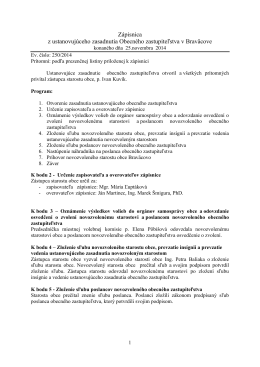Zápisnica zo zasadnutia OZ dňa 25.11.2014
