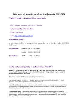 Plán práce výchovného poradcu v školskom roku 2013/2014