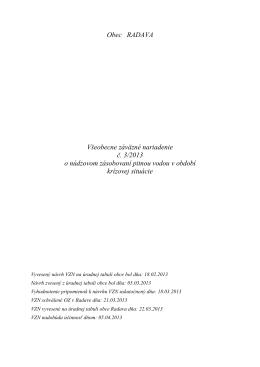 Obec RADAVA Všeobecne záväzné nariadenie č. 3/2013 o