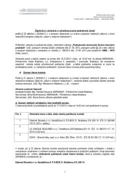 Zápisnica podľa §33 ZVO podmienky účasti