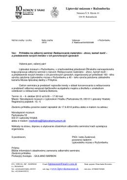 Informácie_seminár - Liptovské múzeum v Ružomberku