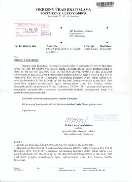 Okresný úrad Bratislava, pozemkový a lesný odbor