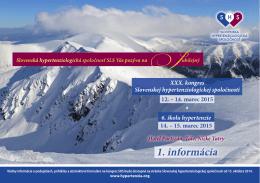 Pozvánka - Slovenská Hypertenziologická Spoločnosť