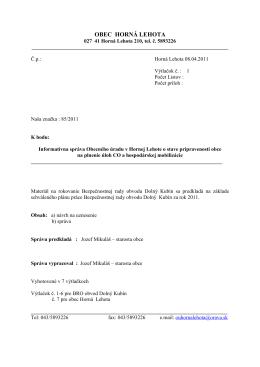 Obec Horná Lehota -Informatívna správa pre Civilnú obranu.–