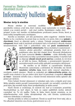Mesiac úcty k starším - Farnosť sv. Štefana Uhorského Zbudské Dlhé