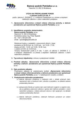 VÝZVA_účtovná firma BPP - Bytový Podnik Petržalka