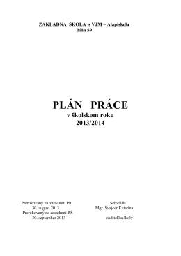 PLÁN PRÁCE - obecbina.sk