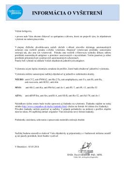 INFORMÁCIA O VYŠETRENÍ - Cytopathos, spol. s ro