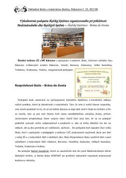 Vyhodnotenie podujatia školskej knižnice organizovaného pri