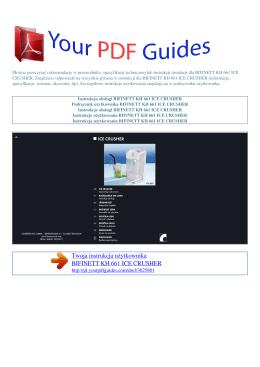 Instrukcje obsługi BIFINETT KH 661 ICE CRUSHER