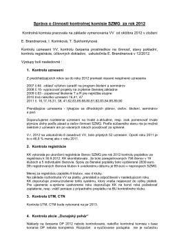 Správa o činnosti 2012