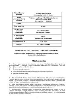 Vnútorný predpis pre klasifikáciu žiakov