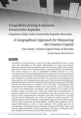 Geografický prístup k meraniu kreatívneho kapitálu