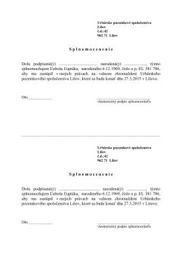 S p l n o m o c e n e n i e Dolu podpísaná(ý