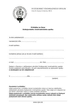 Prihláška za člena občianskeho združenia Zlá zelina