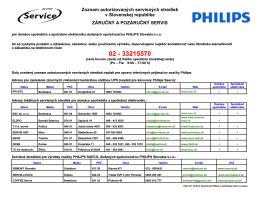 Zoznam autorizovaných servisných stredísk v Slovenskej