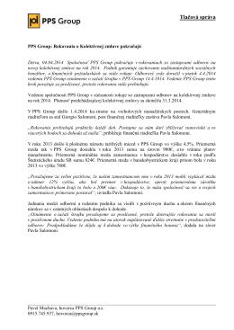 PPS Group: Rokovania o Kolektívnej zmluve pokračujú