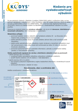 Riešenie pre vysledovatelnosť výbušnín (.PDF)