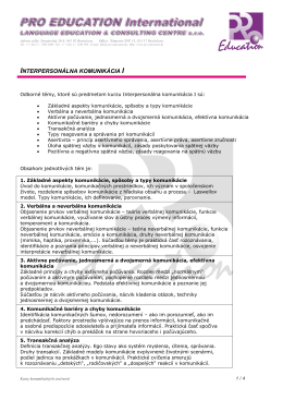 INTERPERSONÁLNA KOMUNIKÁCIA I