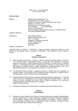 Zmluva o podnájme č. 01/2012/HK - Mestský podnik služieb spol s
