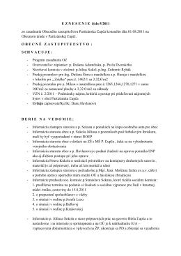 Uznesenia Obecného zastupiteľstva 5/2011