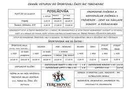 Cenník vstupov do športovej časti RIC Terchovec
