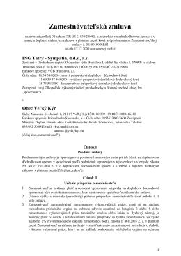Zamestnávateľská zmluva - ING Tatry - Sympatia