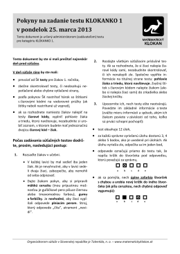 Pokyny na zadanie testu KLOKANKO 1 v pondelok 25. marca 2013