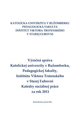 Výročná správa inštitútu za rok 2011