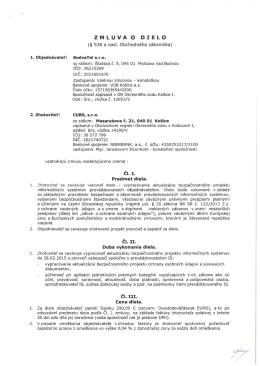 Zmluva o dielo (vypracovanie aktualizácie bezpečnostného projektu